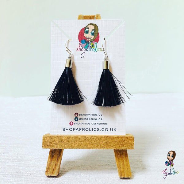 Black tassel earrings with silver findings