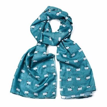 Turquoise sheep print scarf, finished with a rolled edge.