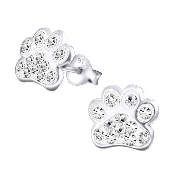 Crystal Sterling Silver Paw Earrings