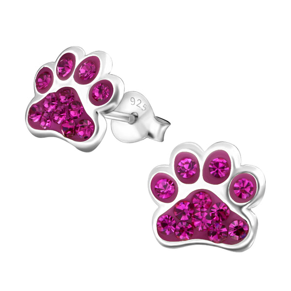 Pink Crystal Sterling Silver Paw Earrings