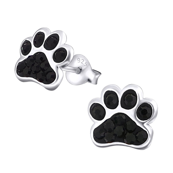 Black Crystal Sterling Silver Paw Earrings