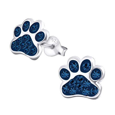 Blue Crystal Sterling Silver Paw Earrings