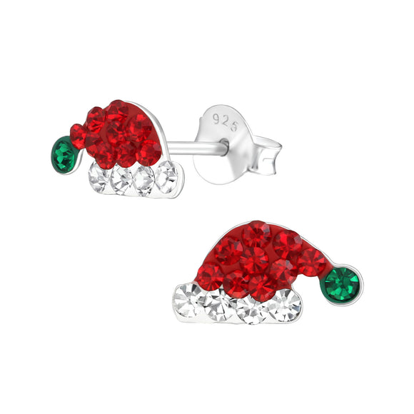 Santa hats with red and clear crystals, and a green crystal pom pom.