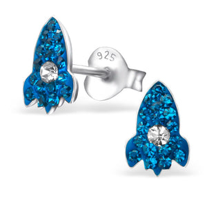 These pretty blue crystal rocket earrings are out of this world.