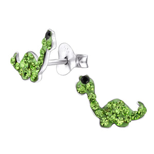Pretty green diplodocus dinosaur crystal earrings.