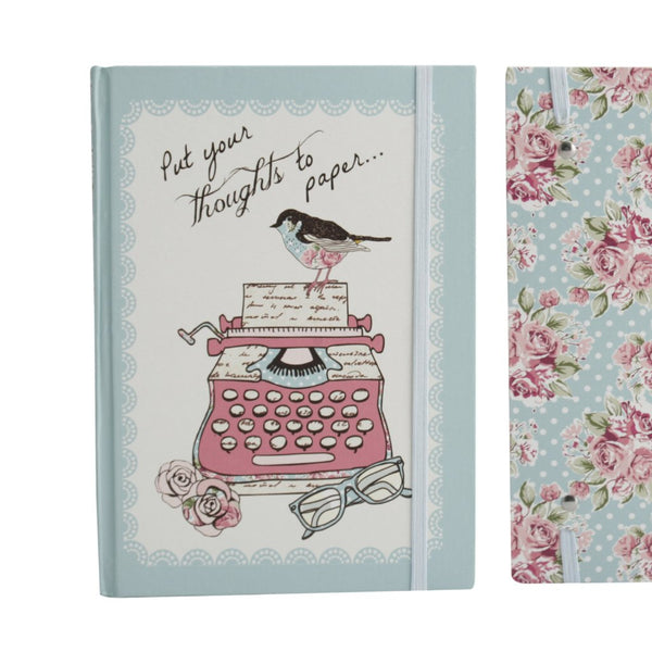 A5 hard cover notebook featuring vintage style typewriter and bird cover featuring the words Put Your Thoughts To Paper.