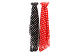 Pretty heart print scarf in a choice of red or black.
