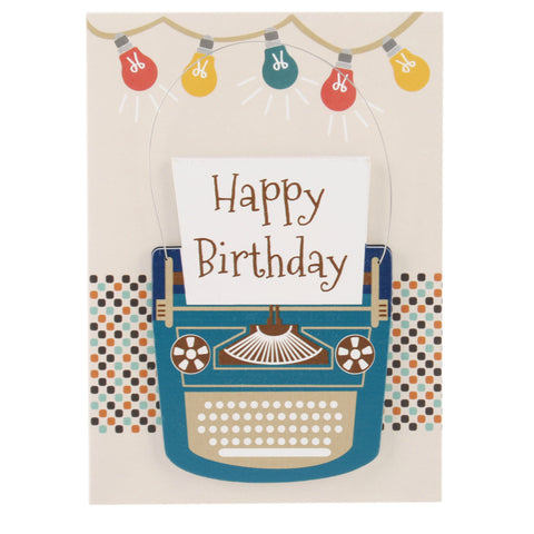 Happy Birthday Card and Hanging Keepsake Vintage Typewriter