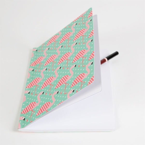 Pretty flamingo pink and blue notebook