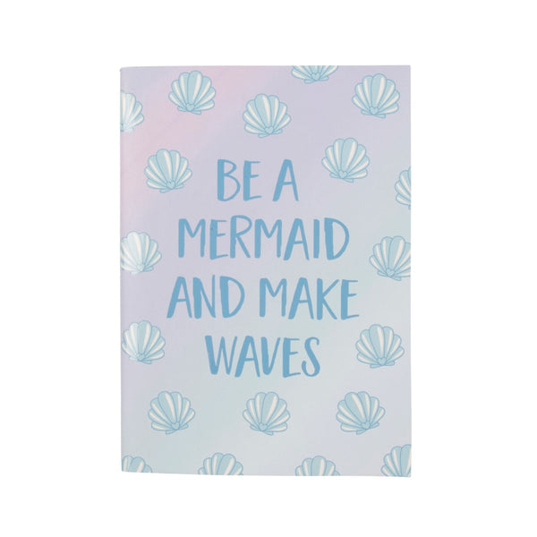 Pretty lilac / blue ombre notebook with shell print and mermaid slogan: Be a mermaid and make waves