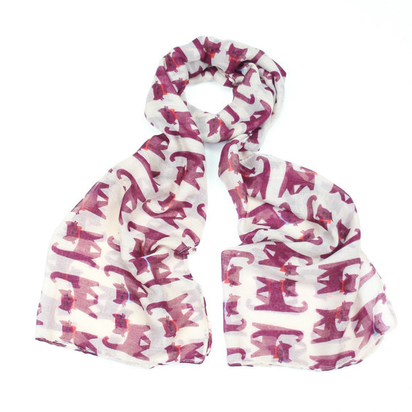 Fun pink cat design on a white background printed scarf