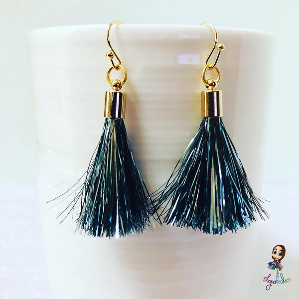Dark Grey Tinsel Tassel Drop Earrings
