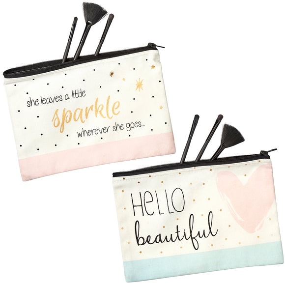 Large Canvas Make Up Bag Choice of slogans:  She Leave a Little Sparkle Wherever She Goes or Hello Beautiful