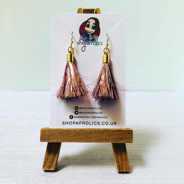 Rose Gold Tinsel Tassel Drop Earrings