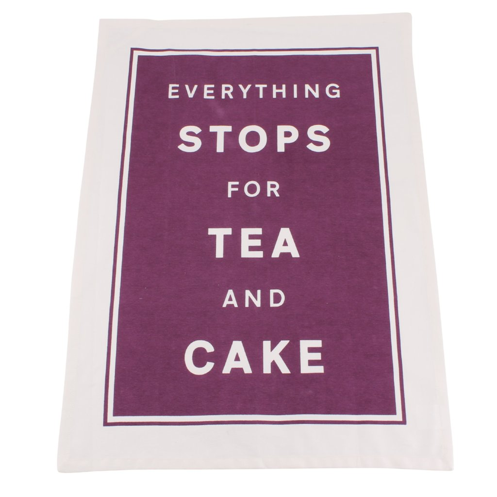 Vibrant purple tea towel featuring the slogan: Everything Stops For Tea and Cake