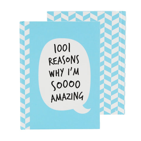 Blue A6 hard cover notebook featuring bubble slogan