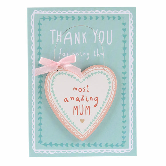 Amazing Mum Card and Hanging Keepsake Heart