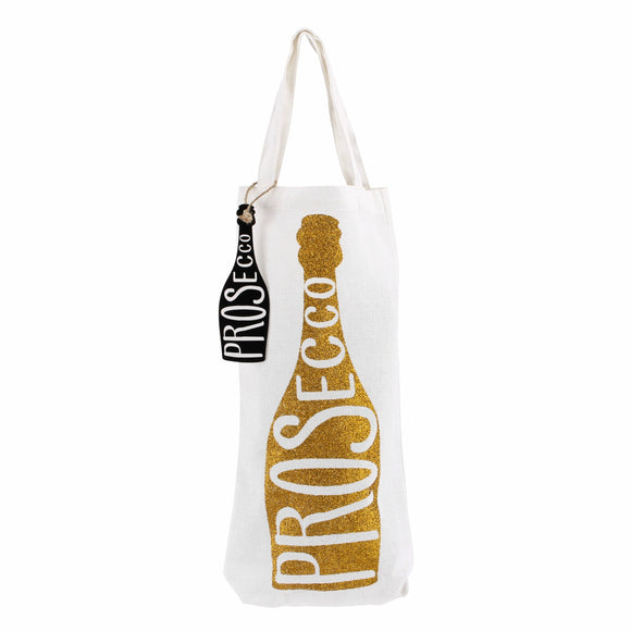 White canvas bottle bag featuring gold glitter Prosecco