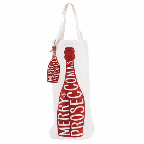 Red Merry Prosecco-mas Bottle Bag
