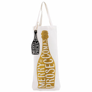 Gold Merry Prosecco-mas Bottle Bag