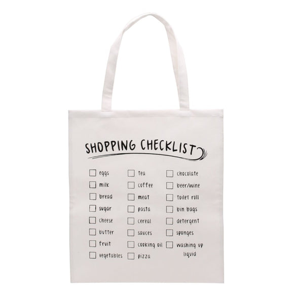 Canvas shopping bag featuring shopping checklist design.