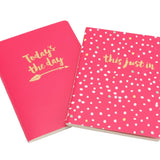 2 x A6 pink paperback notebooks with slogans