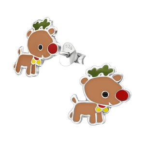 Rudolph the Red Nose Reindeer with epoxy resin detailing stud earrings.