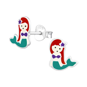 Mermaid Sterling Silver Resin Earrings