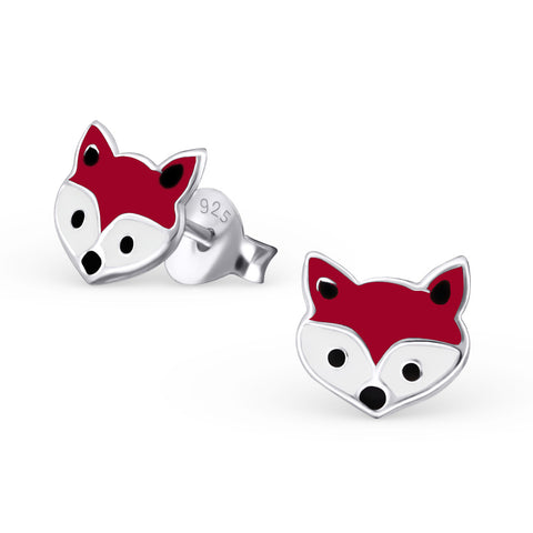 Fabulous fox head stud earrings.  925 Sterling Silver finished in dark red, black and white epoxy resin.
