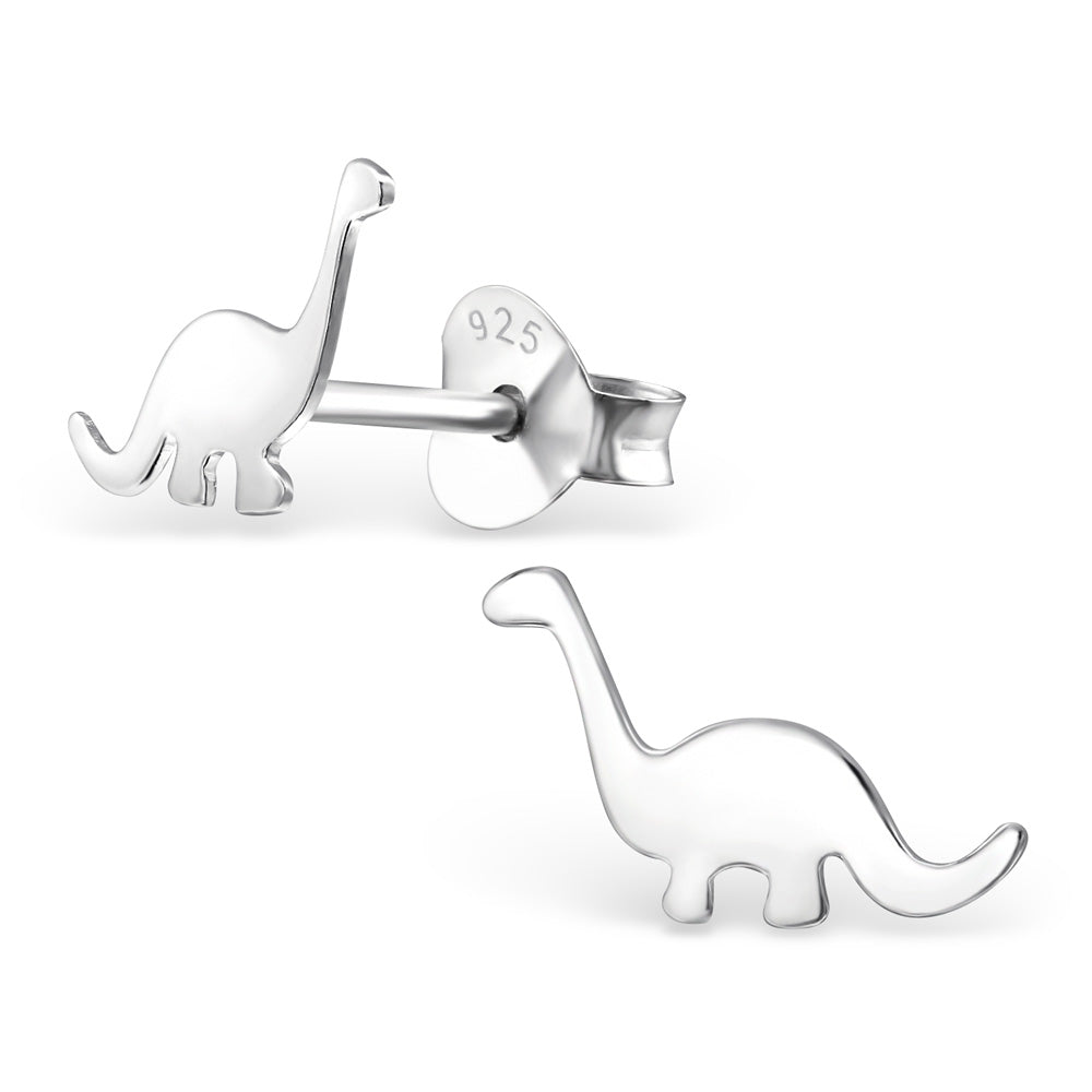Sterling silver diplodocus dinosaur stud earrings