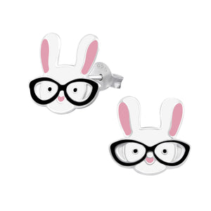 Cute bunny rabbit wearing specs stud earrings.
