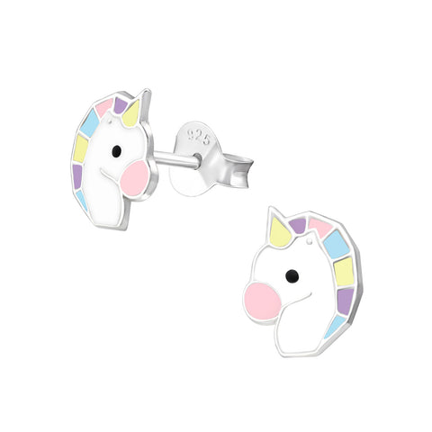 Unicorn Head Sterling Silver Earrings
