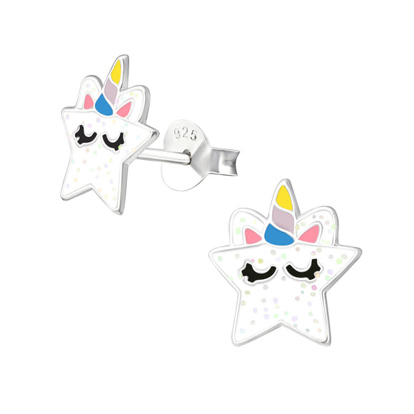 Pretty glitter star with sleeping unicorn detail stud earrings.