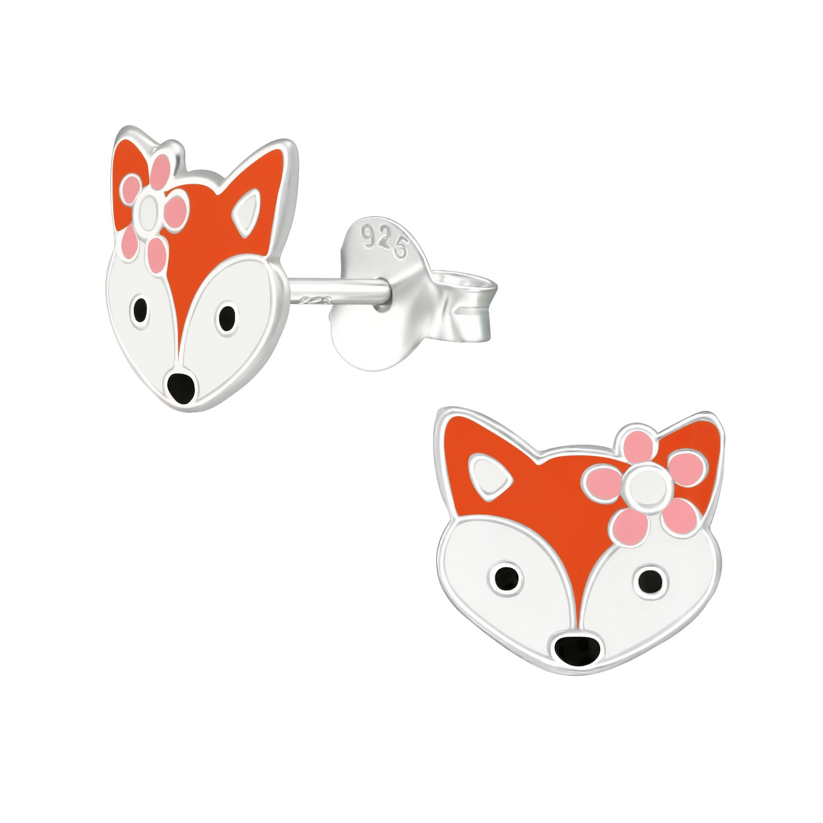 Fabulous vixen head with flower stud earrings.