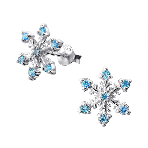 Pretty snowflake stud earrings with blue cubic zirconia.