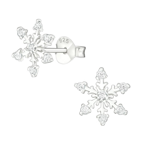 Pretty snowflake stud earrings with cubic zirconia.