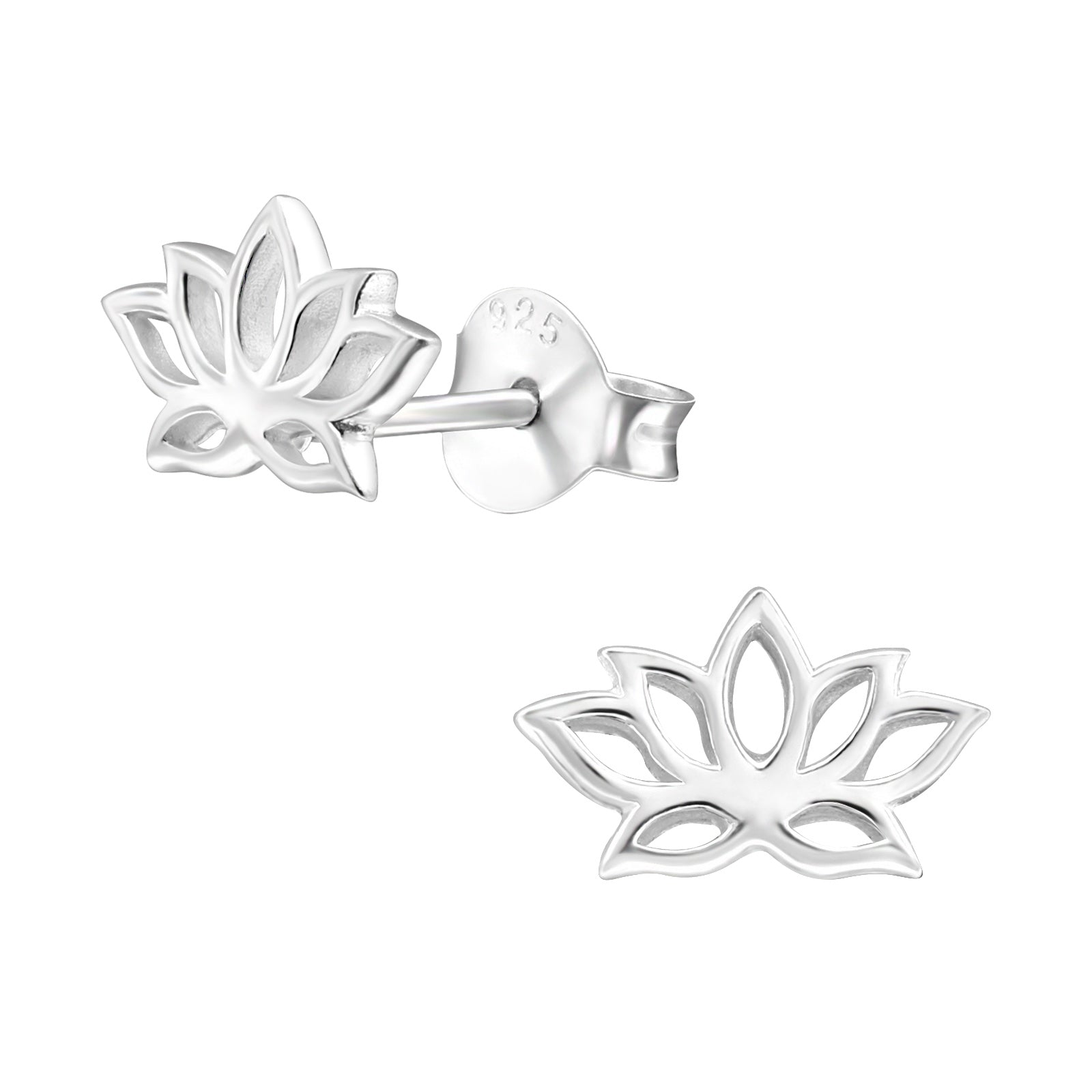 Beautiful lotus flower stud earrings represent spirituality, and the purity of heart and mind.