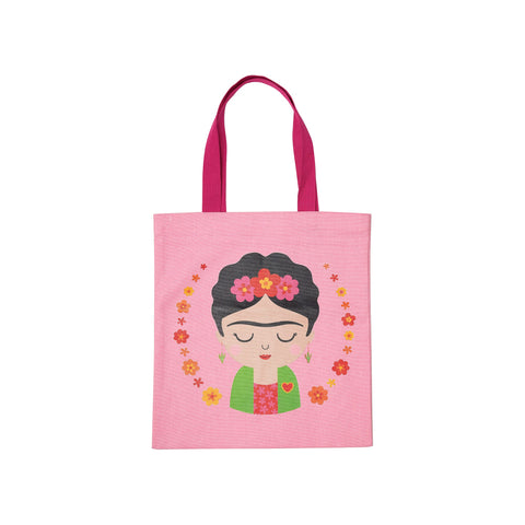 Frida Kahlo inspired pink tote bag