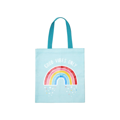 Gorgeous 'Good Vibes Only' slogan tote bag in sky blue, featuring a vibrant rainbow motif.