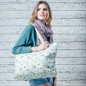 Large fun pastel green floral print canvas bag