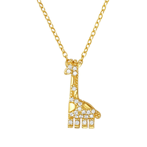 Gorgeous giraffe necklace with crystal details.