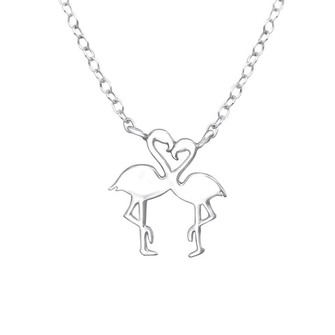 Gorgeous necklace with two flamingoes in the shape of a heart.