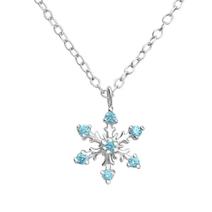Pretty snowflake necklace with blue cubic zirconia crystals.