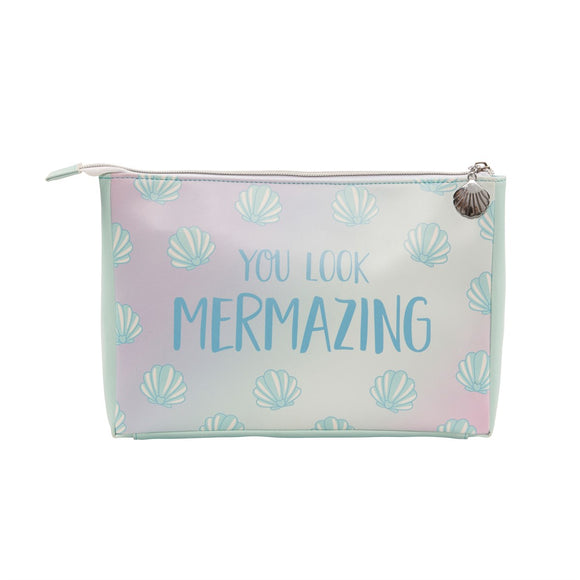 Large make up / wash bag featuring shell print and a mermaid slogan: You Look Mermazing