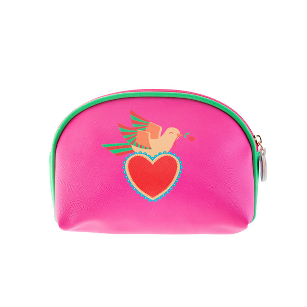 Back of Frida Kahlo inspired pink make up cosmetic bag