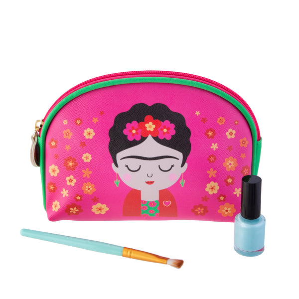 Front of Frida Kahlo inspired pink make up cosmetic bag