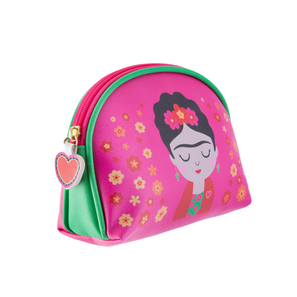 Side view of Frida Kahlo inspired pink make up cosmetic bag