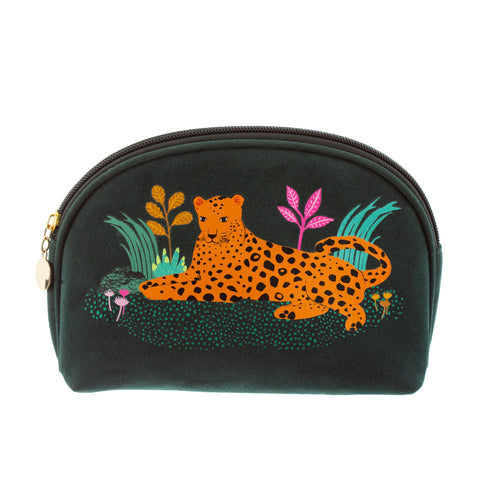 Deep jade green with a valet-like finish cosmetic bag for all your beauty essentials featuring a wonderfully will leopard design. Gold leopard print detail on the back with the slogan Stay Fierce.
