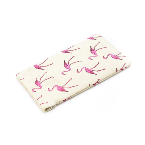 Pretty pink flamingo print sunglasses spectacles case.