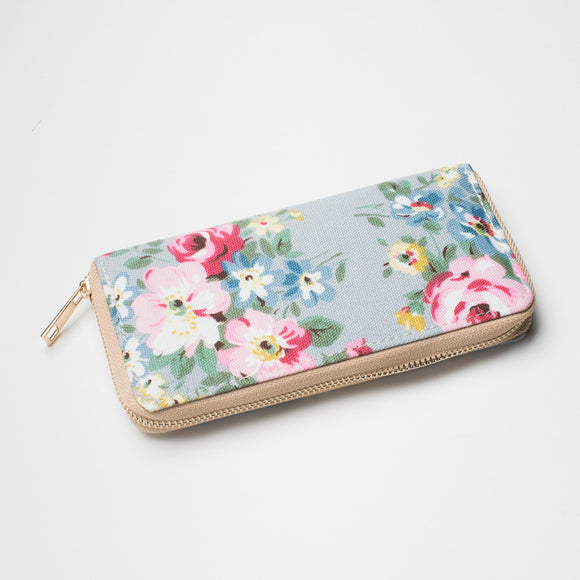 Pretty vintage style floral print canvas purse